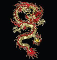 Asian tattoo dragon vector design in color.