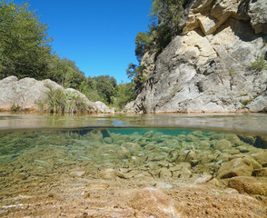 Wild river with rocks and fish shoal underwater (chub), split view half above and below water surface, La Muga, Catalonia, Spain