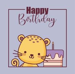 cute tiger happy birthday card