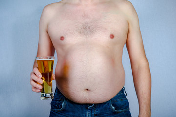 Shirtless overweight caucasian man