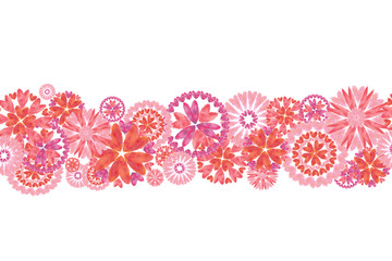 Pink Heart Flowers Seamless Border. Valentine day, Wedding, Spring and Summertime, and Romantic Event Design.
