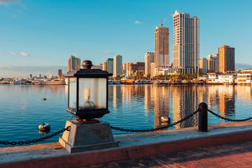 Skyline of Manila City and Manila Bay along the harbor