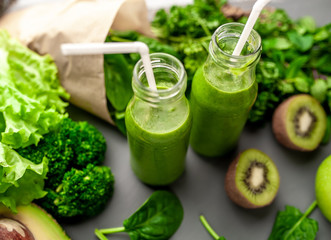 smoothie with vegetables, avocado, apple, kiwi . sports nutrition