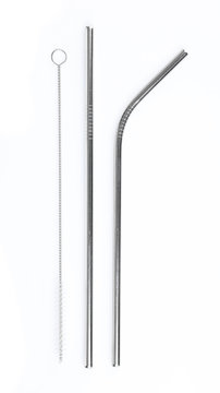 reusable steel drinking straw isolated on white background