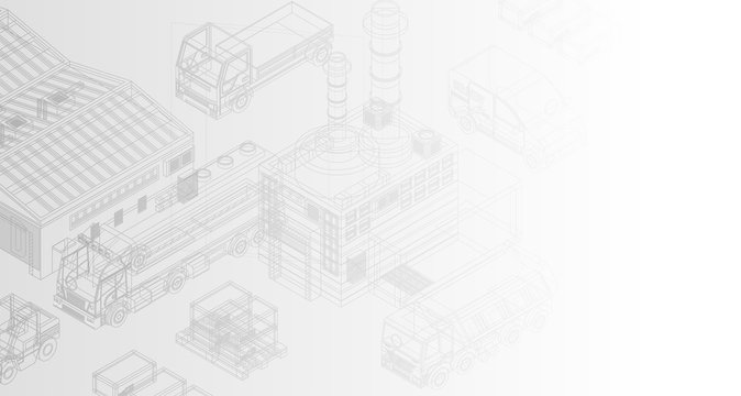 Creative isometric design of delivery system with trucks and warehouse on white background