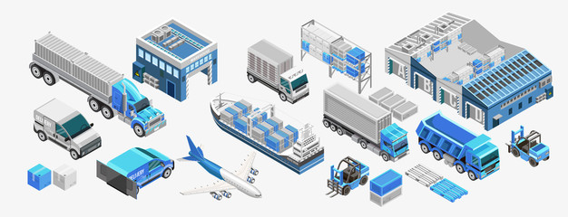 Set of assorted freight transport and storage facilities of blue color