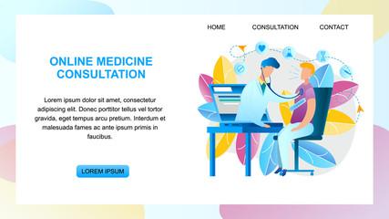 Illustration Online Medicine Consultation Doctor