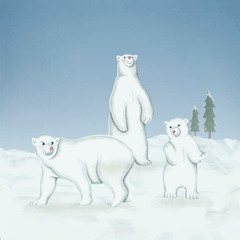 Wall Mural - Hand-drawn family of white polar bears