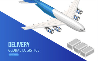 Isometric design of webpage with flying airplane showing information about delivery and global logistics