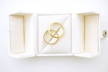Wedding rings in a box High angle view