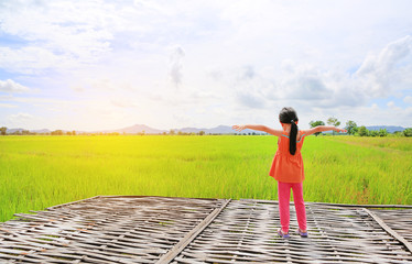 Rear view of little Asian child girl stretch arms and relaxed at the young green paddy fields with morning sunlight.