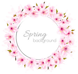 Fototapete - Spring background with a pink blooming sakura. Vector.