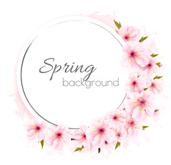 Wall Mural - Spring background with a pink blooming flowers. Vector.