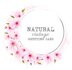 Wall Mural - Spring background with a pink blooming sakura. Vector.