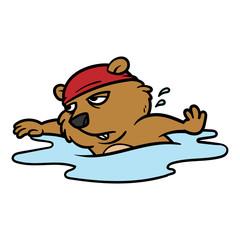 Cartoon Groundhog Character Swimming