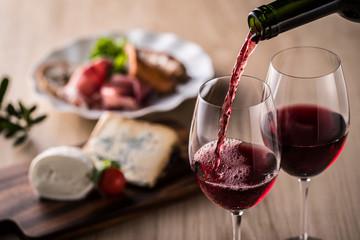 Spoed Foto op Canvas Wijn 赤ワインとイタリア料理