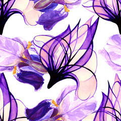 Background. Flowers watercolor. Beautiful base for design. Seamless pattern.