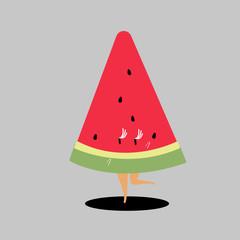 Slice of watermelon cartoon vector