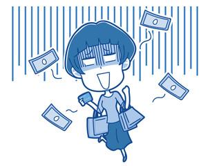 イラスト素材: お金が飛んで行く 女性 イラスト