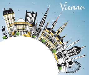 Vienna Austria City Skyline with Color Buildings, Blue Sky and Copy Space.