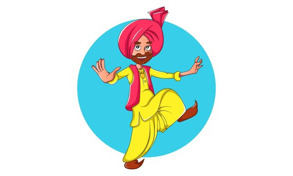 Vector cartoon illustration of Punjabi man dancing bhangra . Isolated on white background.