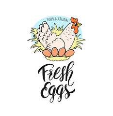 ПечатFresh eggs hand drawn chicken and handwritten lettering. Label design for shop, market, menu, poster, bannerь