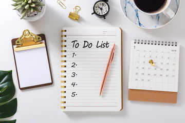 To do list in notebook with calendar