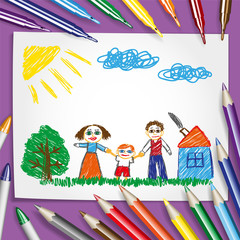 Children's pencilling. Children's drawing, parents with their son and a set of pencils. Vector illustration. EPS-10.