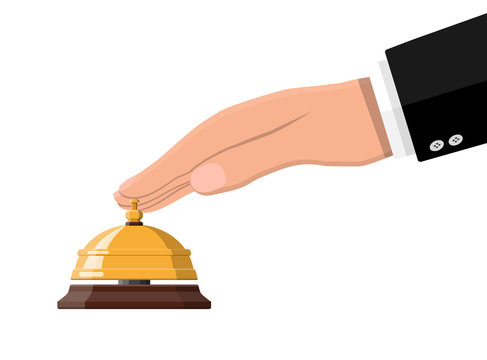 Golden service bell and hand