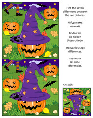 Halloween themed visual puzzle: Find the seven differences between the two pictures of witch hat, pumpkins, bats, etc. Answer included.