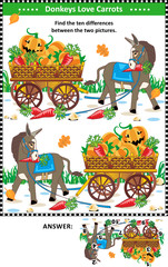 Visual puzzle: Find the ten differences between the two mirrored pictures with donkey and wagon full of pumpkins and carrots. Answer included.