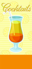 Layered orange and yellow alcoholic cocktail with straw banner, summer drink, cocktail party celebration flyer, invitation or card vector Illustration
