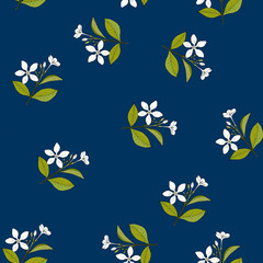 Seamless pattern with hand drawn medicinal herb holarrhena