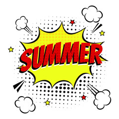 Comic Lettering Summer In The Speech Bubbles Comic Style Flat Design. Dynamic Pop Art Vector Illustration Isolated On White Background. Exclamation Concept Of Comic Book Style Pop Art Voice Phrase.