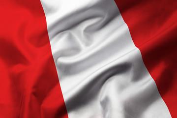 Papiers peints Amérique du Sud Satin texture of curved flag of Peru