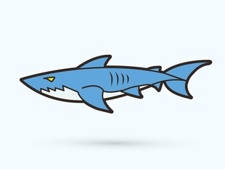Shark swim cartoon graphic vector