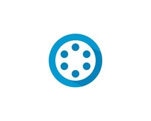 Film roll logo - vector black cinema and movie design element or icon - Vector
