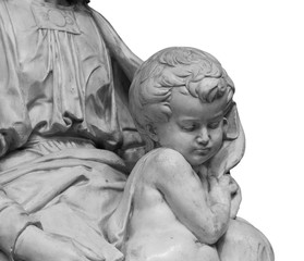 Marble statue a child with her mother