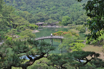 view from a hill in Ritsurin Garden in Takamatsu