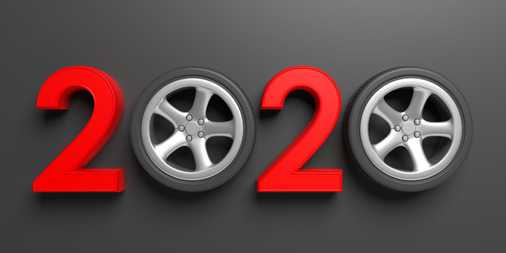 New year 2020, red with car wheel isolated on gray black background. 3d illustration
