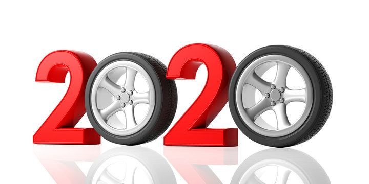 New year 2020 with car wheel isolated on white background. 3d illustration