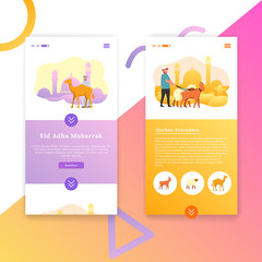 Eid Adha App Mobile Interface Vector Template Illustration User Experience