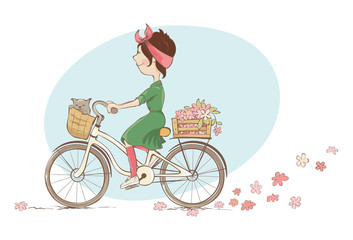 Girl on a bicycle. Vector illustration, young woman and spring shopping