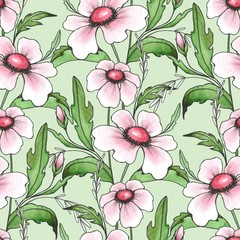 Floral seamless pattern. Background with white flowers
