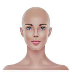 Vector realistic bald hairless woman portrait 3d