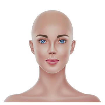 Vector realistic bald hairless woman portrait 3d