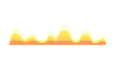 Music wave pattern. Yellow-orange sound pulse. Sound vibrations. Audio technology. Vector design