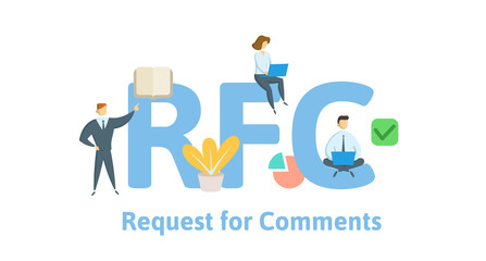 RFC, Request for Comments. Concept with keywords, letters and icons. Colored flat vector illustration. Isolated on white background.