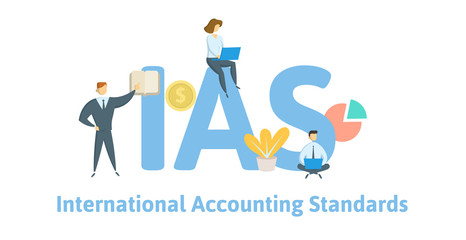 IAS, International Accounting Standards. Concept with keywords, letters and icons. Colored flat vector illustration. Isolated on white background.