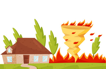 Flat vector scene with dangerous fire whirl near living house, burning trees. Fire tornado. Natural disaster